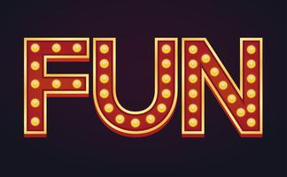 FUN banner sign marquee light bulb vintage vector