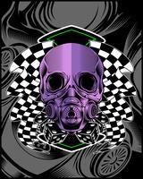 Cráneo violeta con dibujo de mano de vector de bandera de carrera