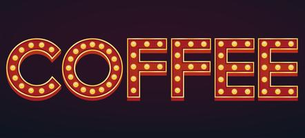 COFFEE sign marquee light bulb vintage vector