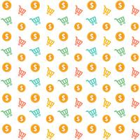 Vector Seamless Shopping Cart With Gold Coins Style Pattern