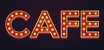 CAFE banner alfabeto signo carpa bombilla vintage vector