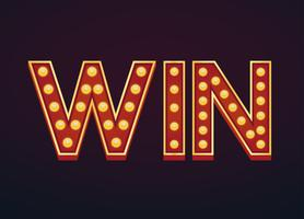 Win banner sign marquee light bulb vintage vector