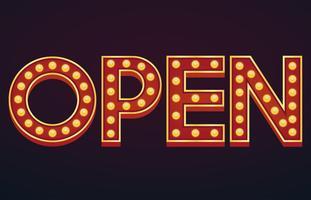 Open alfabetteken Markttent gloeilamp vintage