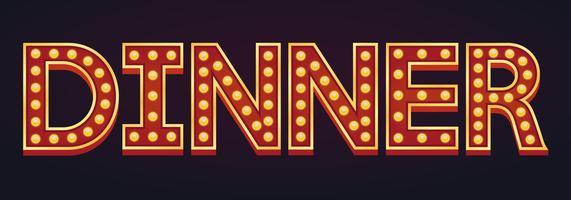 DINER banner alfabet teken lichttoog gloeilamp vintage