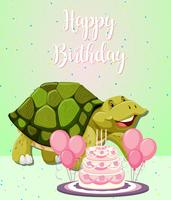 Turtle and cake birthday card