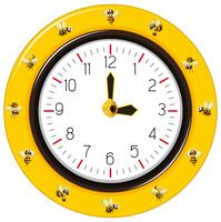 Black and yellow stripes bee clock vector