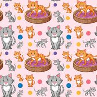 Cat on seamless pattern vector