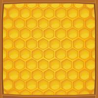 Cartoon honingraat verpakt in houten frame patroon achtergrond
