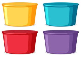 Set of colorful buckets