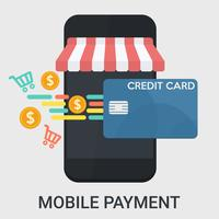 Mobile payment in a flat design