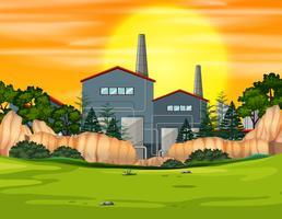 Fabbrica di costruzione nel paesaggio naturale