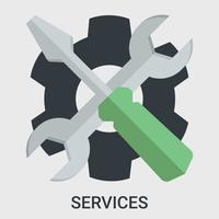 Servizio in un design piatto