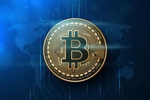 Illustration réaliste de Bitcoin vecteur