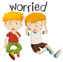 English vocabulary of worried