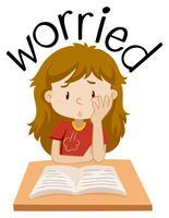 Engelska vokabulär av flicka orolig