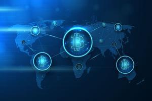 Illustration futuriste de Bitcoin vecteur