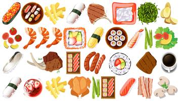 Set of different foods vector