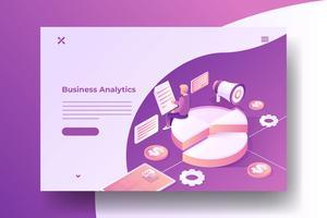 Isometric Data Analysis and Marketing vector