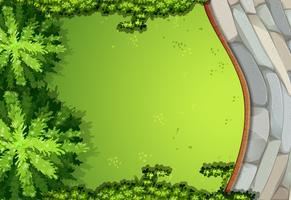 Eine Luftaufnahme des Gartens