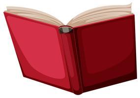 En röd bok på vit bakgrund