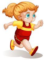 Una ragazza paffuta che corre