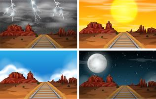Conjunto de cenas de ferrovia no deserto