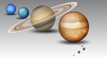 Set of solar system planet