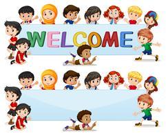 Internationale Kinder auf Willkommensbanner