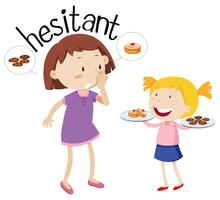 English vocabulary word hesitant