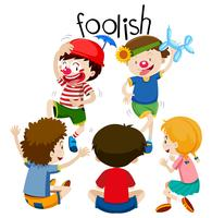 funny children being foolish vector