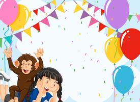 Girl and monkey on party background