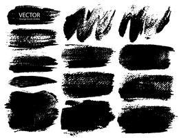 Satz Pinselstriche, schwarze Tintenschmutz-Pinselstriche. Vektor-illustration