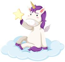 Purple unicorn holding star vector