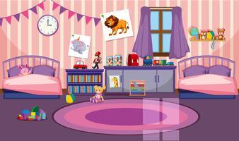 Interior de la habitación de las niñas.