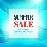 Summer sale banner with wave background vector