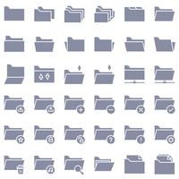 File and Folder vector icon set, solid style