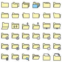 File and Folder icon set, filled editable outline
