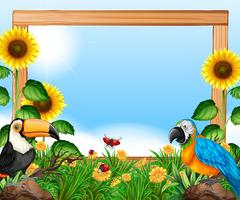 Birds on nature wooden frame