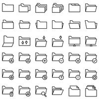 File and Folder vector icon set, line style