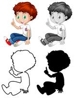 Set van Engelse jongen karakter