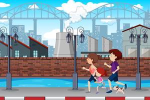 Eine Familie, die in der Stadt rüttelt