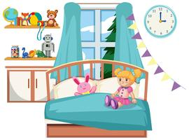 Cute kid bedroom interior