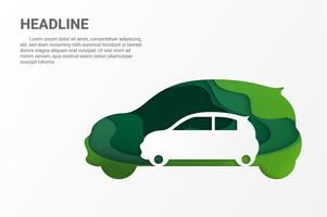 Gren Eco Car. Save Earth Planet en World-omgeving. papierkunststijl