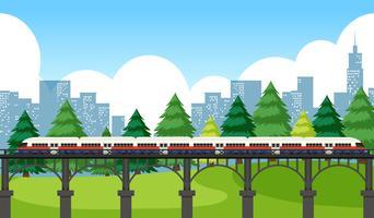 trein overtocht door de stad