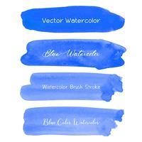 Acuarela azul del movimiento del cepillo en el fondo blanco. Ilustracion vectorial