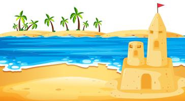 Sandcastle in beach scene