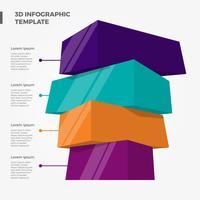 platt 3d bar infographic element vektor mall