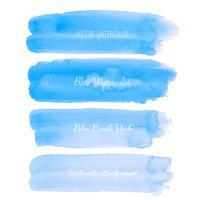 Acuarela azul del movimiento del cepillo en el fondo blanco. Ilustración vectorial