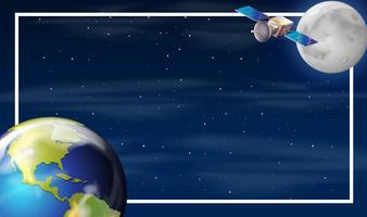 Earth on space border vector