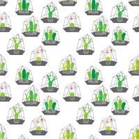 Cactussen in glazen terraria met geometrische patroonachtergrond. Vectorillustraties voor Gift Wrap Design.